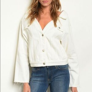 Wide Neck White Denim Jacket